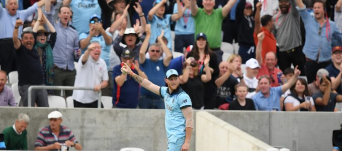 Ben Stokes - That Catch! Ben celebrates taking the catch of Andile Phehlukwayo of South Africa in the the ICC Cricket World Cup 2019 at The Oval on May 30 (Photo by Alex Davidson/Getty Images).