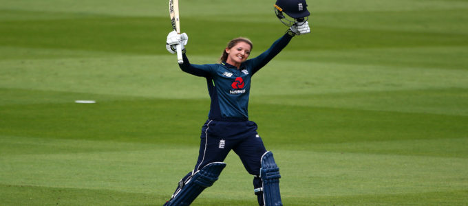 Sarah Taylor England celebrates her century during the ICC Women's Championship 2nd ODI match between England and South Africa at The 1st Central County Ground on June 12, 2018 in Hove, England (Photo by Charlie Crowhurst/Getty Images).