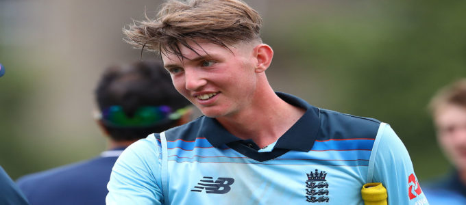 George Hill following England's 5 wicket win during the Under 19s Tri-Series match between England U19 and India U19 at Cheltenham College Ground on July 26, 2019 (Photo by Michael Steele/Getty Images).