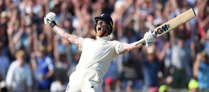 Ben Stokes celebrates hitting the winning runs to win the 3rd Ashes Test match between England and Australia at Headingley (Photo by Gareth Copley/Getty Images).