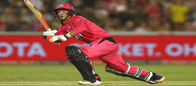 Josh Phillippe of the Sydney Sixers bats during the Big Bash League match between the Sydney Sixers and the Adelaide Strikers at Coffs International Stadium on January 05, 2020.