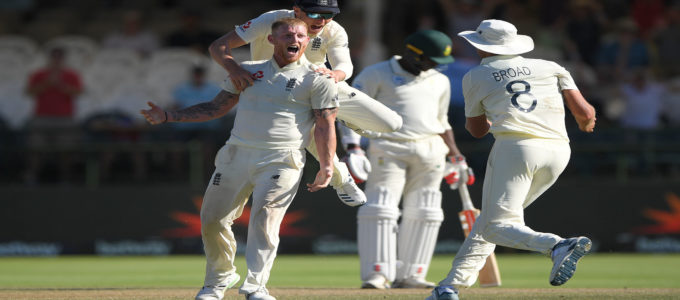 Ben Stokes celebrates the wicket of Philander to win the match for England during Day Five of the Second Test between South Africa and England at Newlands in Cape Town, South Africa. (Photo by Stu Forster/Getty Images)