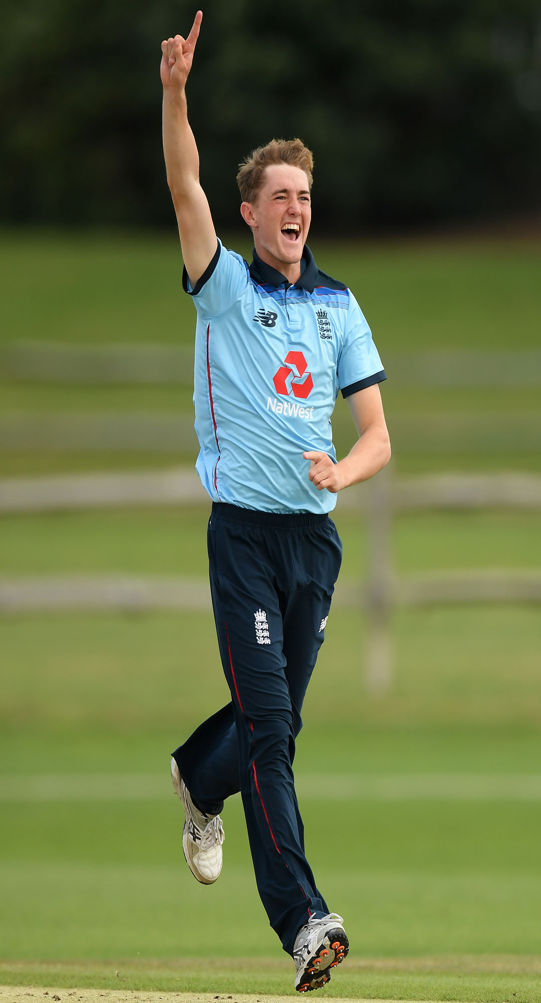 Phoenix Management Group's George Balderson celebrates after dismissing Yashasvi Jaiswal of India U19 during an Under 19 Tri-Series match between England U19 and India U19 at the County Ground (Photo by Mike Hewitt/Getty Images).