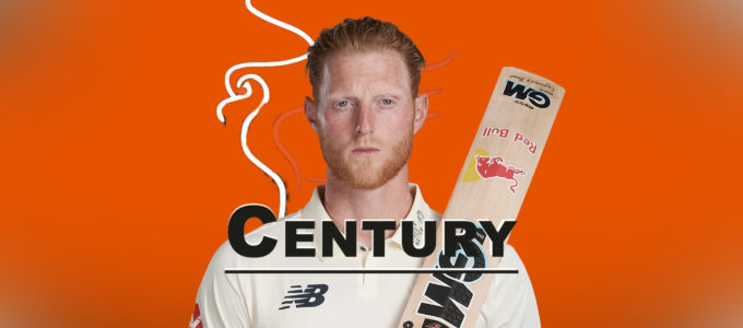 Ben Stokes Scores a Century (PhoenixMedia Image Created from a Photo by Stu Forster/Getty Images).