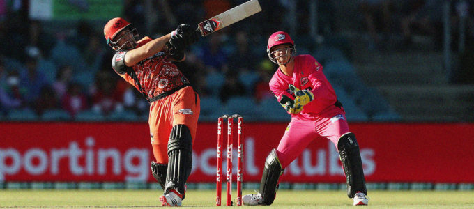 Liam Livingstone Sydney Sixers vs Perth Scorchers at Manuka Oval (Photo by Mark Metcalfe/Getty Images).